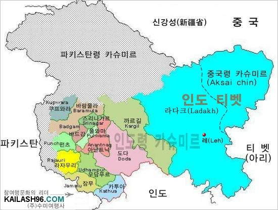 인도 티벳 라다크 지역도