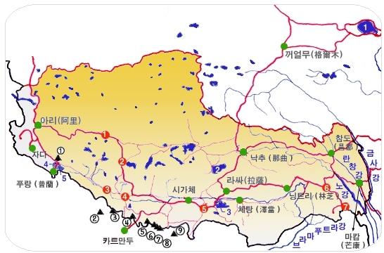 티벳(티베트) 개요 지도